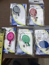 5 Assorted Carabiner Badge Holder Belt Clip-Retractable ID Card Holders