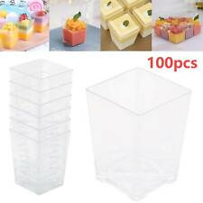 100x 4oz Square Dessert Cups Cube Plastic Clear Mousse Cup Birthday Party Decor