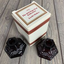 Avon Ruby Red 1876 Cape Cod Collection Tapered Candle Holders Set of 2 Vintage