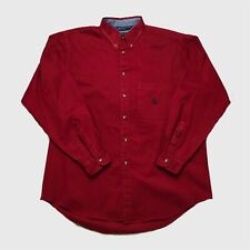 Mens Vintage Nautica Shirt XL Red Long Sleeve Thick Cotton