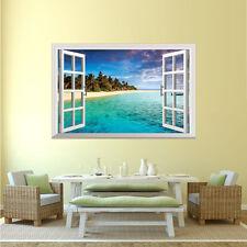 Tropical Playa Palmas Arena Rocas 3D Ventana Adhesivo De Pared Mural 90x60cm