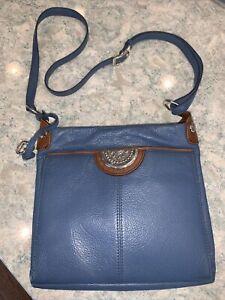 BRIGHTON Winter Blue Purse Wallet Organizer Messenger Crossbody Bag