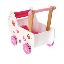 Holzpuppenwagen Retro Puppenwagen Lauflernwagen Schiebewagen Holz weiß rosa 2150