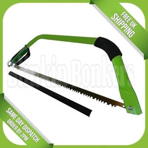 """24"""" BOW SAW HEAVY DUTY GARDEN TREE BRANCH WOOD LOG HAND PRUNING SAFETY GUARD UK"""