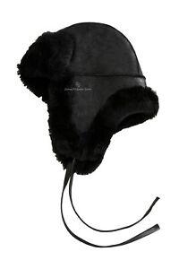 Men B3 Black Winters Hat RAF Aviator Shearling Sheepskin WW2 Flying Hat