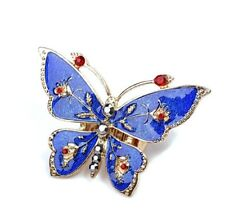 Adjustable silver tone blue enamel butterfly stretch ring with crystal