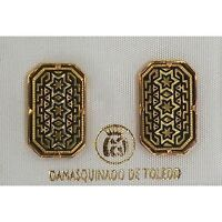 Damascene Gold Star of David Design Stud Earrings by Midas of Toledo Spain