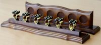 POOL SNOOKER BILLIARD CUE RACK STAND For Pool Table Walnut and Brass Cue Clips