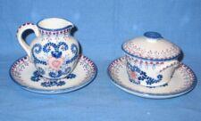 V.L. Lisboa Portuguese Pottery Small Plates Creamer Sugar Portugal