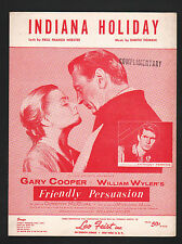Indiana Holiday 1956 Gary Cooper in Friendly Persuasion Sheet Music