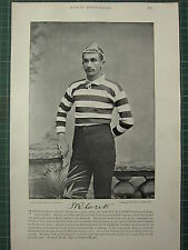 1897 PRINT FAMOUS RUGBY UNION FOOTBALL F. R. LOVEITT COVENTRY CLUB
