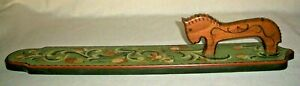 NORWEGIAN ROSEMALING WOOD MANGLE BOARD WITH HORSE DESIGN HANDLE SIGNED FOLK ART