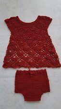 Baby crochet dress + diaper cover set 3 months deep red NEW!!