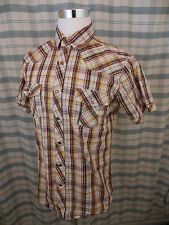 Lee Men's Pearl Snap Vintage Western Shirt - Plaid Red,Yellow,White XXL - D701c