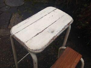 Vintage Industrial French  Metal & Wood Folding Kitchen Step Stool  28.5 inches.