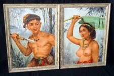 "2x '56 Philippines Oil Paintings ""Aboriginal Man & Woman"" by Oscar Navarro (Ahb)"
