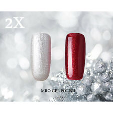2X RS 212-226 Gel Nail Polish UV LED Glitter Silvery Red Soak Off 15ml Salon