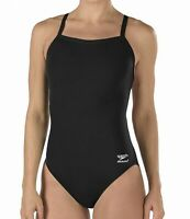 Speedo Womens Swimwear Solid Black Size 30 Endurance+ Flyback Swimsuit $69- 298