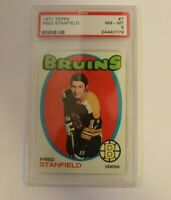 1971 Topps Hockey #7 Fred Stanfield Boston Bruins PSA 8