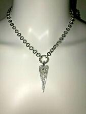 PIANEGONDA *LOVE SICK* .925 SILVER HEART CHARM PAVE DIAMOND CHAIN NECKLACE
