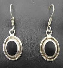 Mexico .925 Sterling Silver Oval Onyx Dangle Earrings