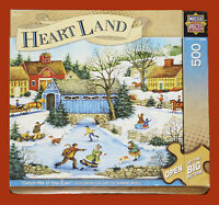 MasterPieces  Jigsaw Puzzle 21x15 Inches 500 Pieces Winter Village Art G-VG
