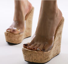 Womens Sexy High Wedge Heels Platform Clear Transparent Mules Roma Sandals Shoes