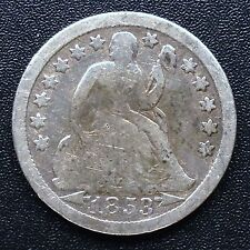 USA 1853 Seated Liberty Dime 10 cents Philadelphie rare argent 2642