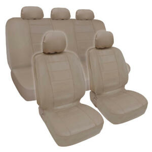 Beige Synthetic PU Leather Set Car Seat Covers For Auto - Side Airbag Safe