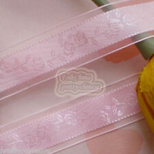 """5 Yards Pink 24mm 1"""" Rose Flower Organza Ribbons Sewing Trimming Craft New"""