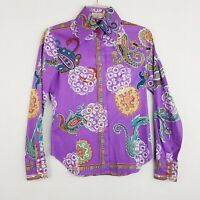 ETRO Milano Button Up Blouse 40 Womens Purple Paisley Made in Italy Top