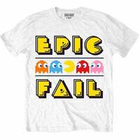 Mens Pac-Man Epic Fail White Crew Neck T-Shirt - Unisex Retro Gamers