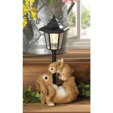 Garden Bunny Figurine Rabbit Solar Lamp Statue Light Outdoor Lantern Sun Powered