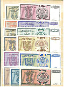 Croatia, Serbian Krajina, 1992/94, 27 different banknotes, VF/XF/UNC