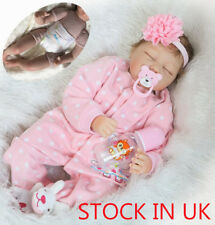 "Soft Silicone Reborn Baby Girl Doll 22"" Close Eyes Newborn Dolls Toy Gifts"