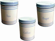 Cornish côtier Bleu & blanc thé café sucre Chariot de stockage boîte