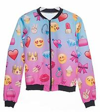 New Exclusive Summer Range Pattern Emoji Styled Bomber Jackets - Emoji Girl