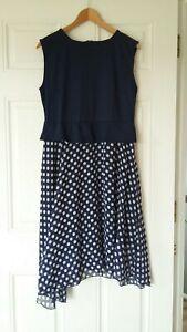 BNWT Oxiuli Fashion Chiffon Belted Navy Blue Polka Dot Swing Dress UK 14 -16