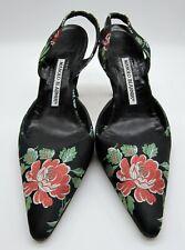 Manolo Blahnik Floral Satin Pumps Size 6 EU 36.5 Pointed Toe Slingback - Heels