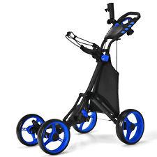 Goplus Folding 4 Wheels Golf Push Cart W/Bag Scoreboard Adjustable Handle Blue