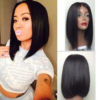Short Bob Haircuts Natural Black Lace Front Wig Heat Resistant Synthetic Hair
