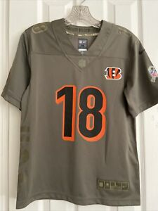 Bengals! Nike #18 Green 2017 Salute to Service YOUTH Jersey Size L- NWOT