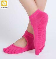 Yoga Socks Women Anti-Slip Five Fingers Backless Silicone 5 Toe Cotton Socks
