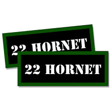 "22 HORNET Ammo Can 2x Labels Ammunition 3""x1.15"" Caliber stickers decals 2 pack"