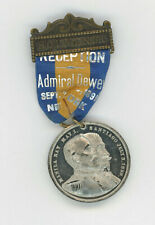 1899 ADMIRAL DEWEY TWO DAY RECEPTION NEW YORK RIBBON & METAL PINBACK BADGE