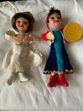 "2 Vintage Felt Plastic 6.5"" Dolls Japan Pixie Elves"