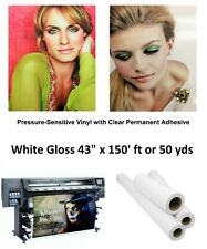 "43"" x 150' (.003"") Pvc White Gloss Self-Adhesive Clear Permanent Vinyl Film Roll"