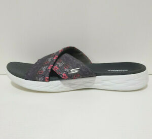 Skechers GOGA MAX On the Go Womens 11 Monarch Slides Shoes Grey Hibiscus Comfort