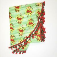 Vintage Christmas Tablecloth Tassel Fringe Bells Red Green Oval Kitsch Holiday