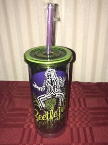 Beetlejuice 20 oz Travel Cup Plastic Tumbler & Straw Green Purple New